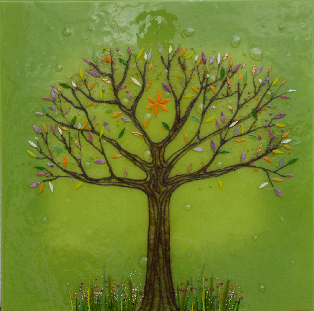 BESPOKE FUSED GLASS ART KITCHEN SPLASHBACKS - TREE OF LIFE ...