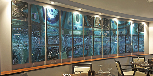 Commercial fused glass art panels make for a very grand sight when used right!