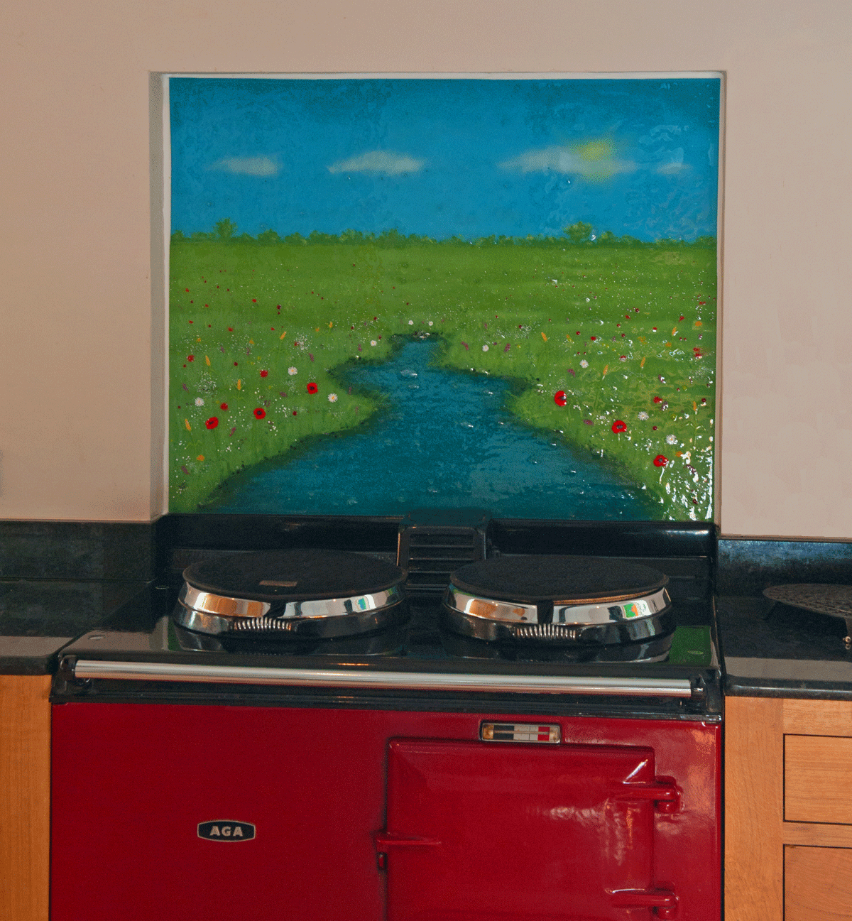 A beautiful landscape, created in fused glass art. A gorgeous kitchen splashback.
