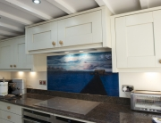 Fused Glass Kitchen Splashbacks Blakesley Blue Panel