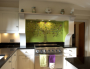 Bespoke Fused Glass Splashback Tree of Life Green