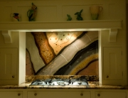 Fused Glass Art Brown Splashback