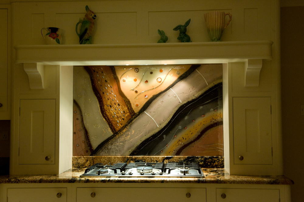 A picture of one of our beautiful fused glass art splashbacks located in situ.