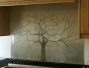 Coloured Glass Splashbacks Tree of Life Muted