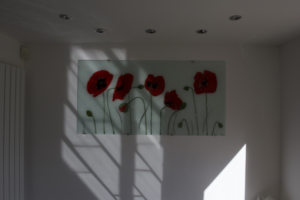 A beautiful piece of fused glass wall art, making this blank wall into a centre of attention.