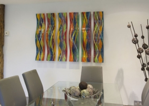 Fused Glass Wall Art Coloured Wave