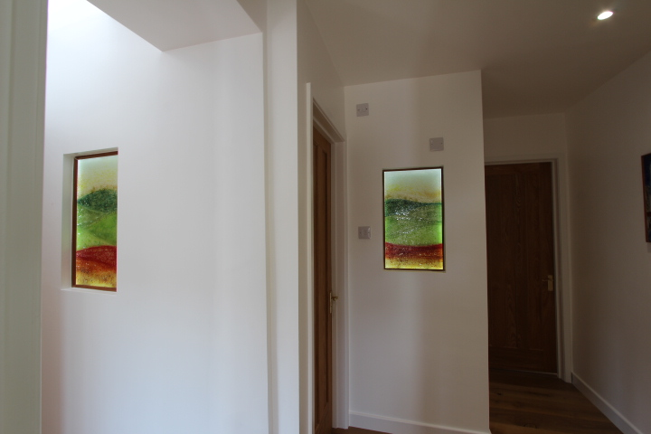 A picture of our fused glass art utilised in the creation of translucent windows. Very creative!