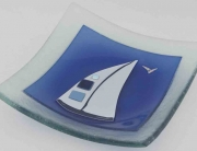 Fused Glass Art Sail Bowl