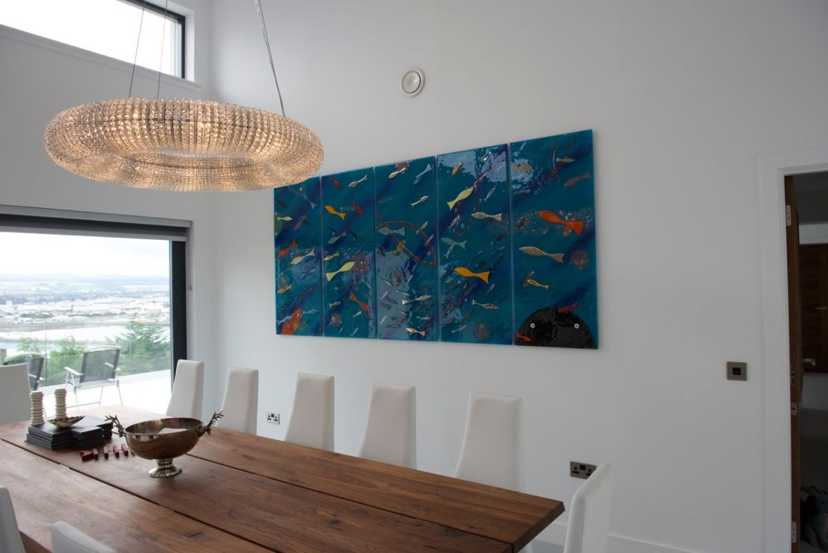 This is a large scale installation of fused glass art, delivered and fitted in Scotland.