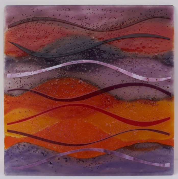 A beautiful piece of fused glass art. We're going to be making many more just like this!