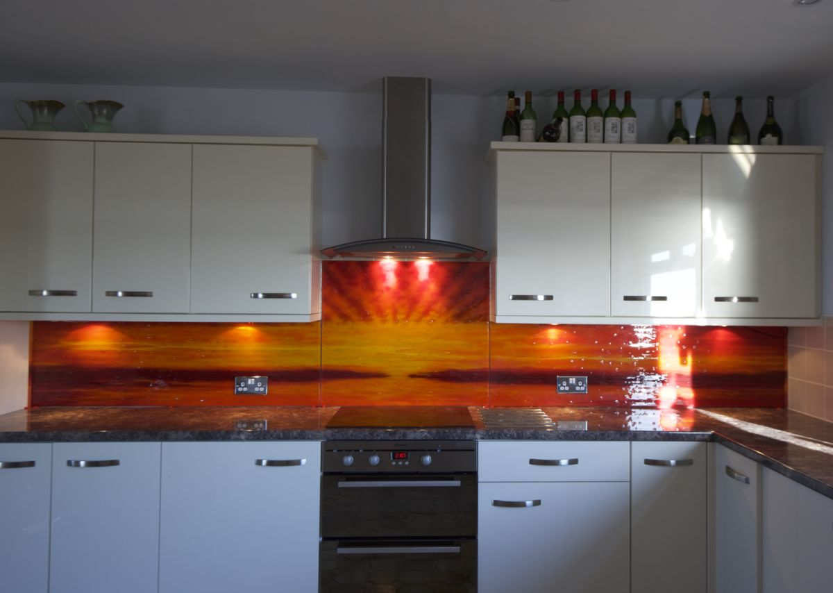 A gorgeous, epic and very vivid example of one of our bespoke glass splashbacks. This one found a home in West Sussex.