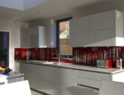Bespoke Fused Glass Art Splashback Red and White 4960