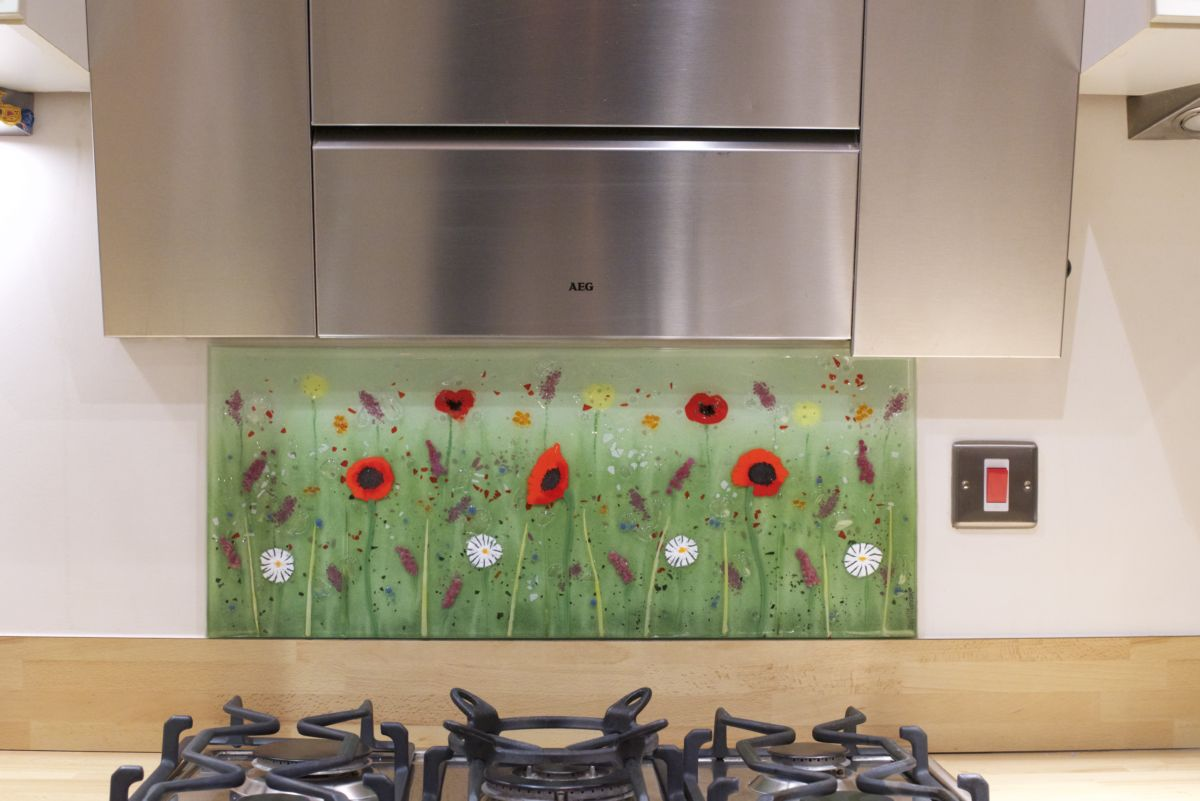 One of our gorgeous fused glass art bespoke glass splashbacks in Brighton. Features a particularly special design!