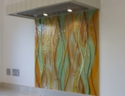 Coloured Glass Splashback Orange and Green Wave