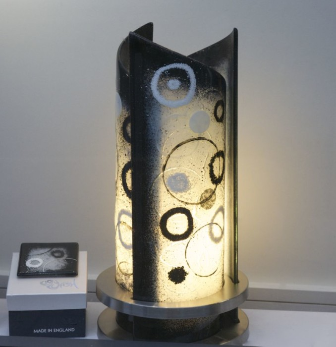 A gorgeous Rospo light showing what our fused glass art can do with a little illumination!