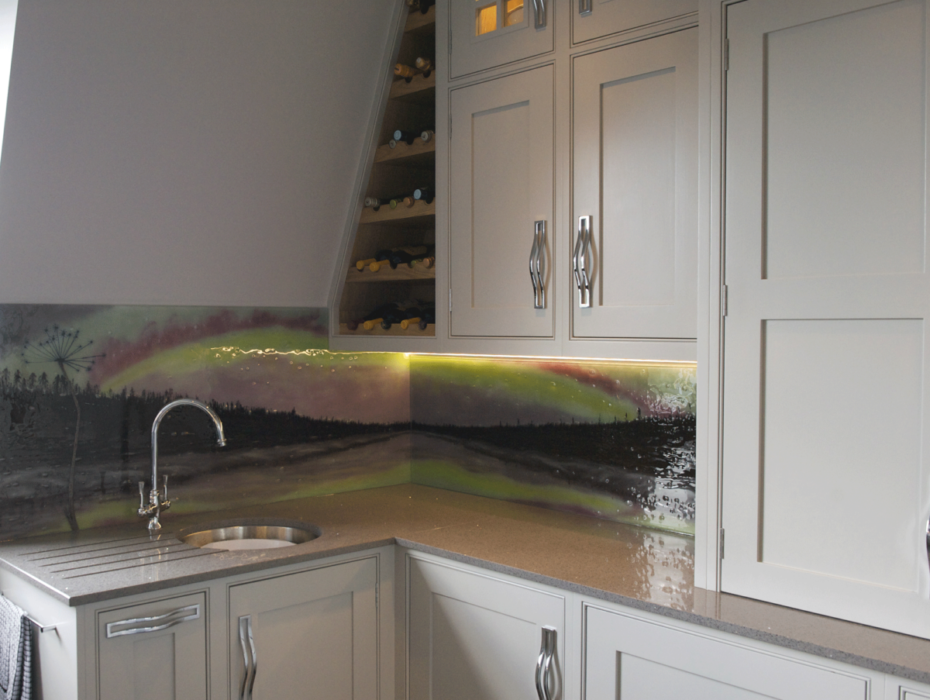 A beautiful example of one of our bespoke fused glass kitchen splashbacks in Yorkshire. Features the northern lights!