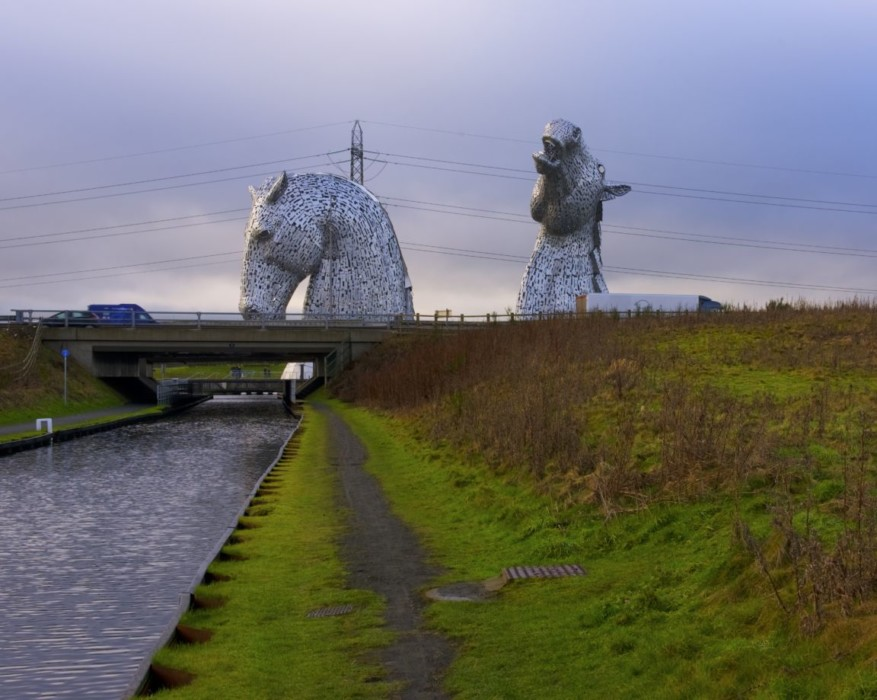 This is a picture of the Kelpies in Scotland. We took this particular photo while delivering fused glass.