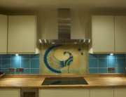 Bespoke Fused Glass Art Peacock Splashback