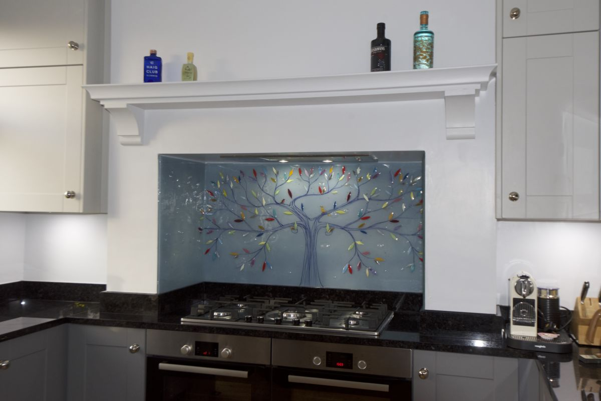 One of our most recent Bespoke Fused Glass Kitchen Splashbacks in Urmston. A beautiful tree of life!