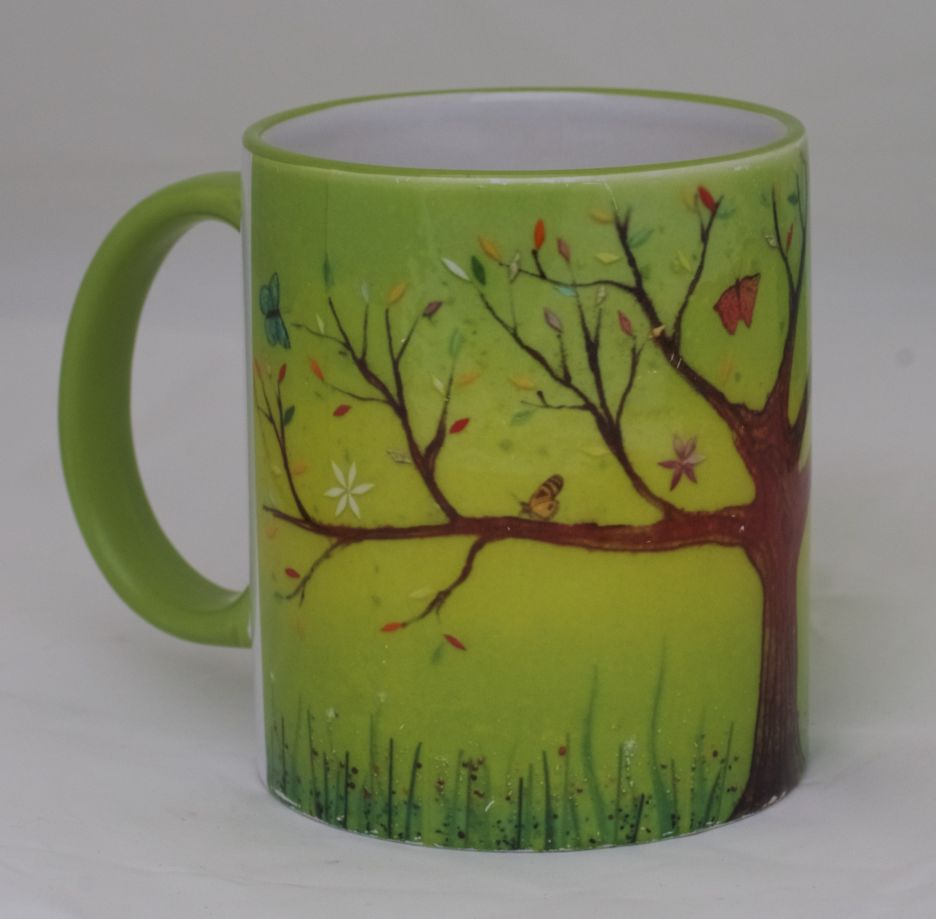 One of our printed mug designs, featuring a beautiful tree of life print.