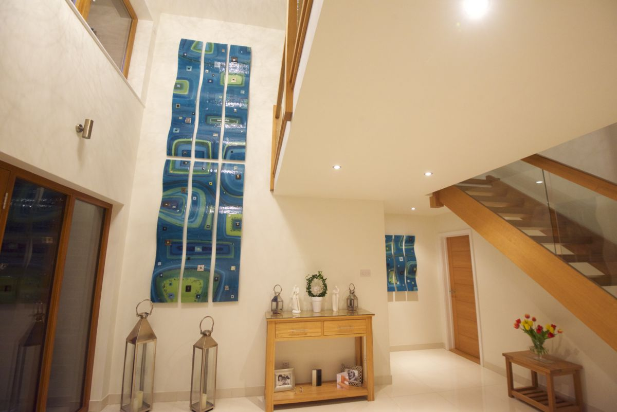 A gorgeous picture of one of our most grand projects to date. You can find fused glass art online here with us!