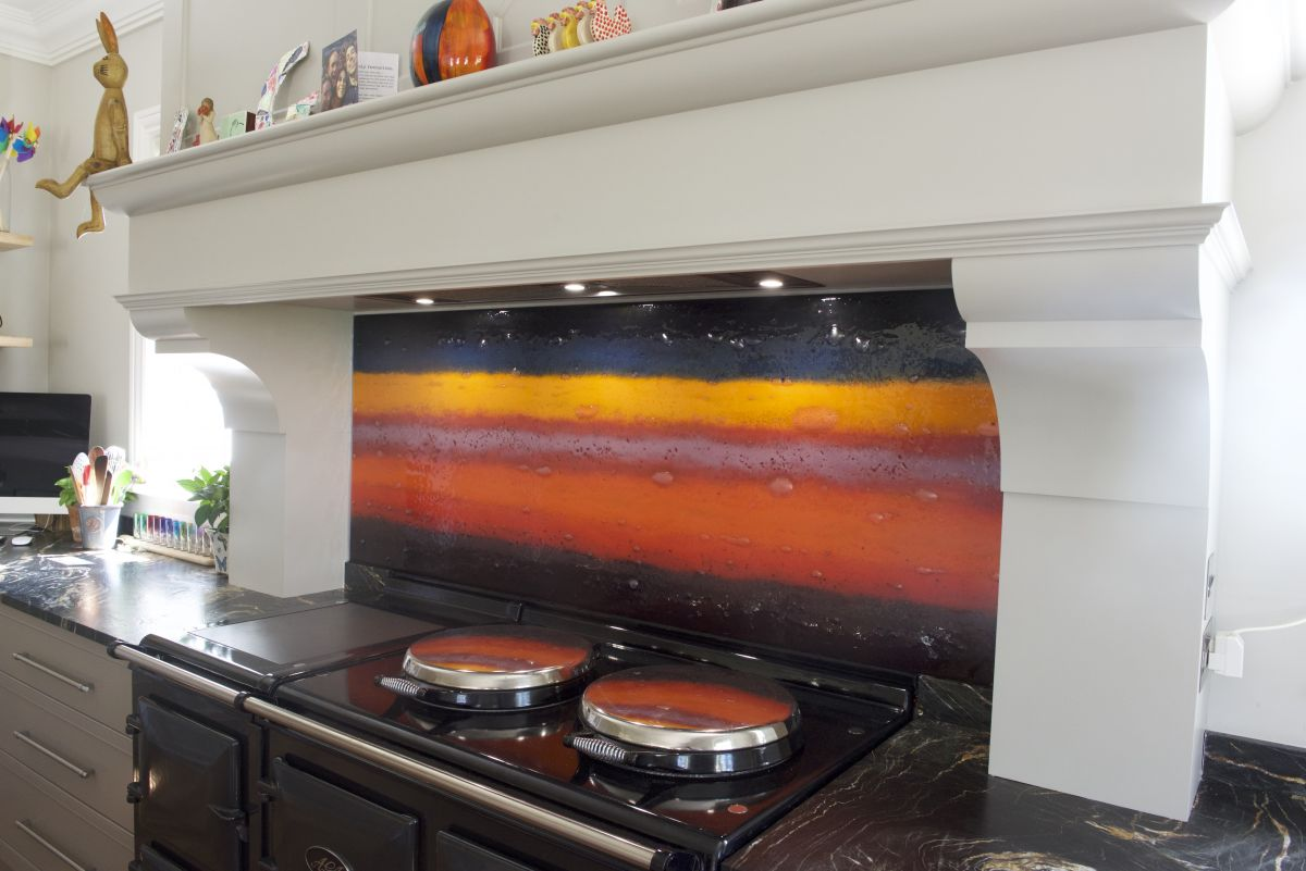 A gorgeous fused glass art splashback demonstrating a wide range of tones.