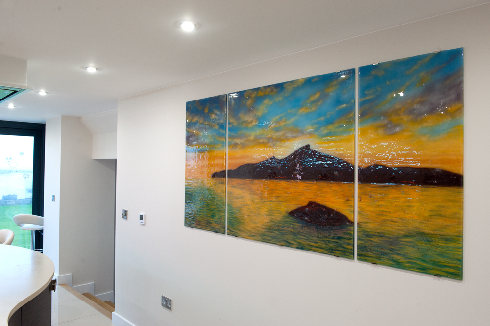 A gorgeous example of bespoke glass wall art in South Wales, an area that we love delivering to!
