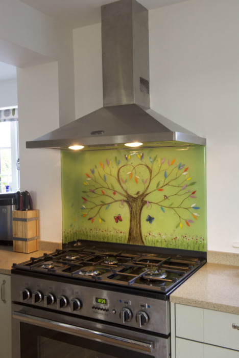 An example of what our gorgeous bespoke glass splashbacks can do. The tree of life is incredibly popular!