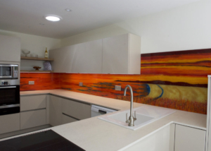 Fused Glass Art Orange Splashback