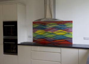 Coloured Glass Splashbacks Wave Design