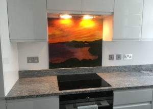 Fused Glass Art Orange Splashback Mayfair