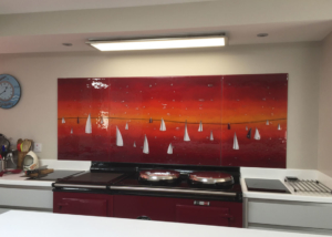 Fused Glass Art Burning Boats Jersey
