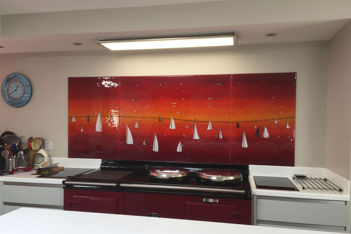 This incredible piece of fused glass art is warm, welcoming and truly exciting.