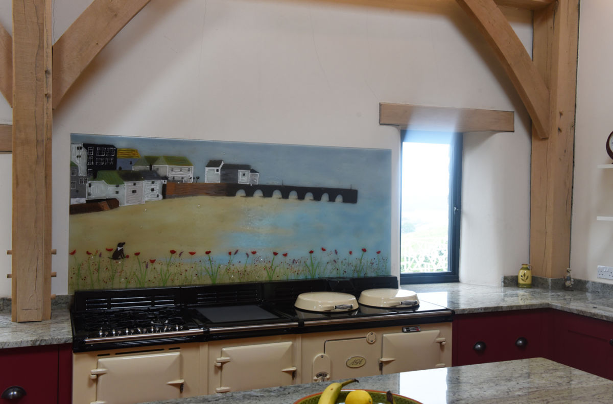 This beautiful splashback looks just like the original painting. Another win for fused glass art!