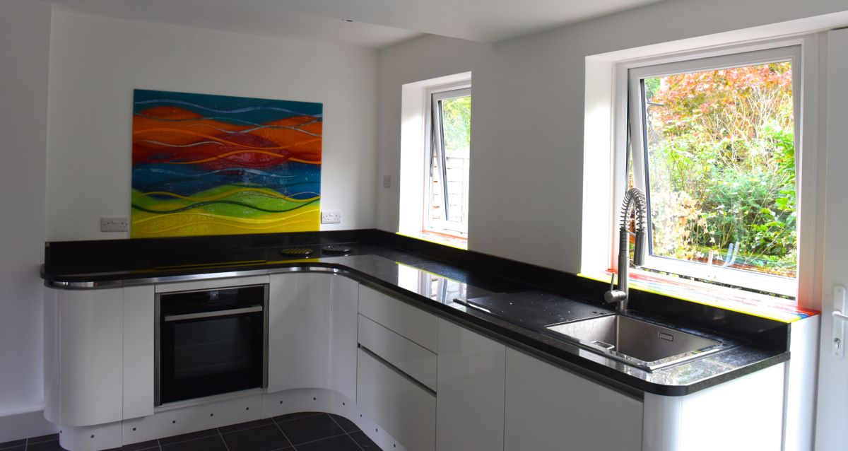Multicoloured, vivid and exciting, this gorgeous fused glass art found a perfect home in East Grinstead, Sussex.