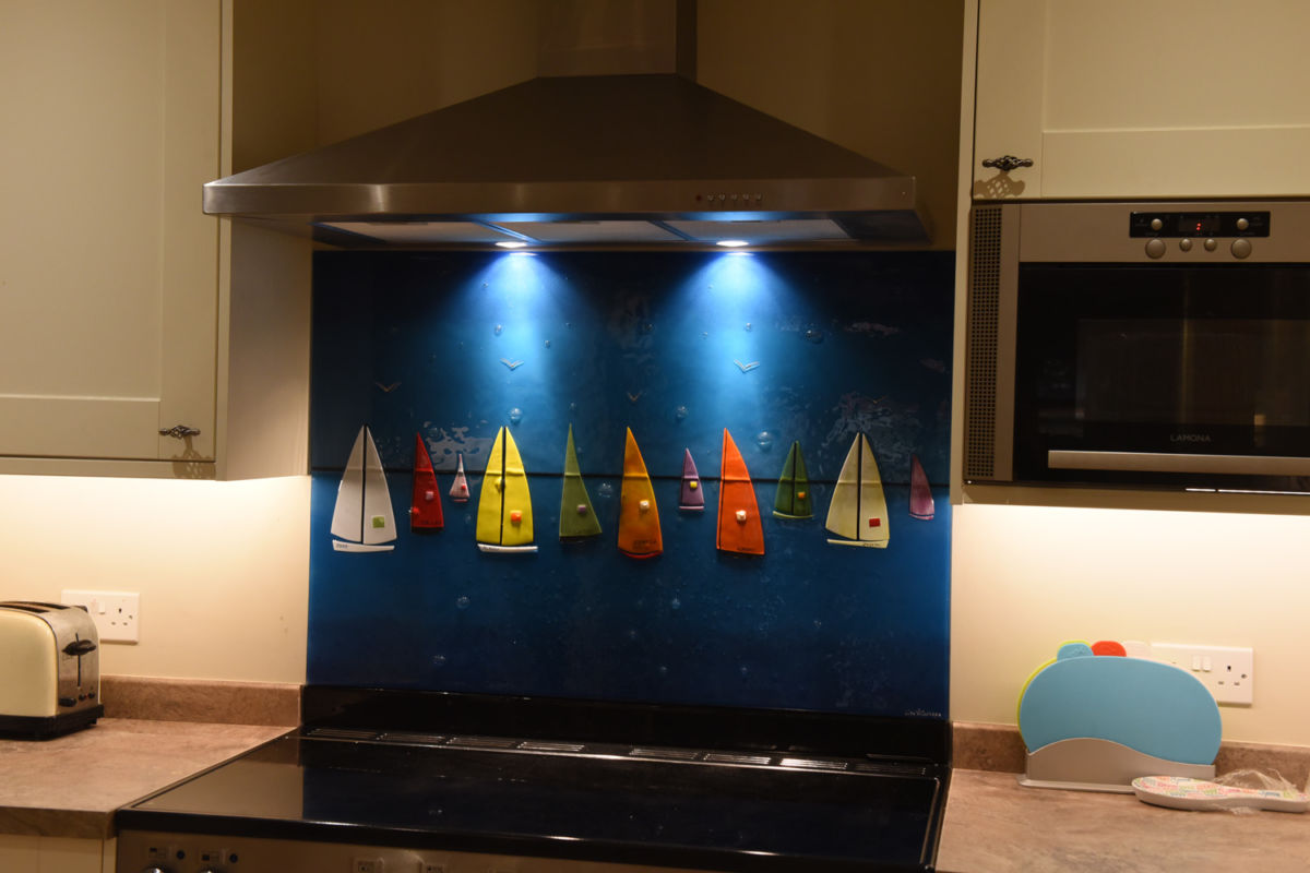 A picture of fused glass art recently delivered to West Mersea. A fun trip!