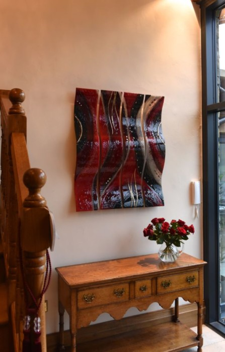 This beautiful fused glass art found a home in Lancashire. It's a sculpted wave in three panels.