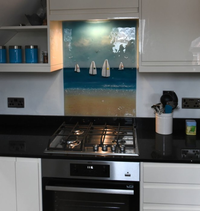This gorgeous piece shows why our work is so much more than just coloured glass splashbacks. It found a home in Dorset!
