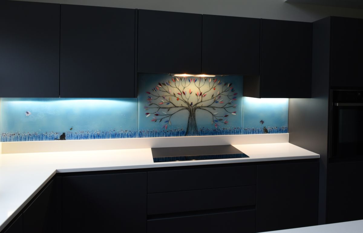This gorgeous glass in Heald Green shows off why our fused glass art is so well loved. Look at how it interacts with the light!