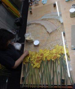 Bespoke Glass Art Daffodils Panel Behind the Scenes